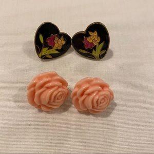 NWOT Heart/Floral Earring Set